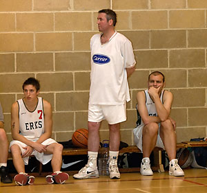 Coach McCusker (standing) is flanked by Robin French (#7) and Lee Atkinson.
